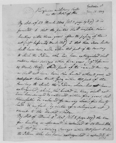 Albert Gallatin to James Madison, June 15, 1809. Notes-VA Lands in Ohio.