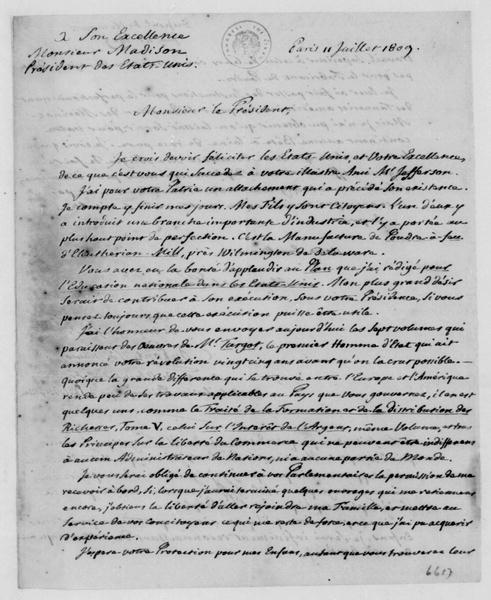 Dupont de Nemours to James Madison, July 11, 1809. In French.