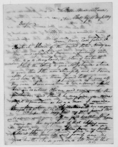 James Taylor to James Madison, August 11, 1809.