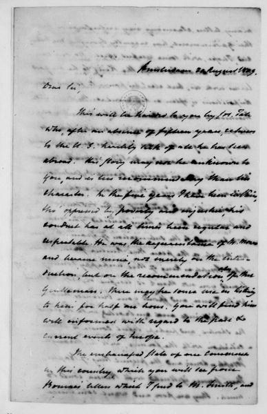 John Armstrong to James Madison, August 20, 1809.