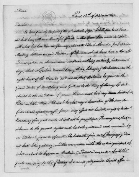 John Armstrong to James Madison, September 18, 1809. Includes postcript of Sept 19, 1809.