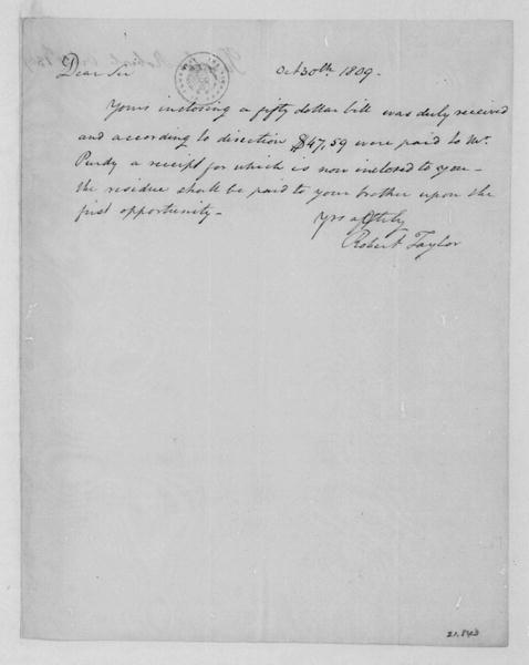Robert Taylor to James Madison, October 30, 1809.