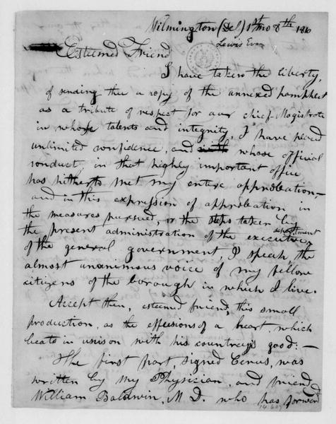 Evan Lewis to James Madison, January 8, 1810.
