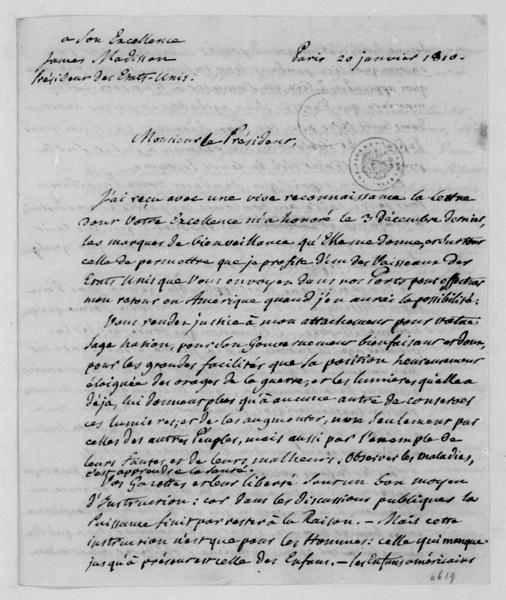 Dupont de Nemours to James Madison, January 20, 1810. In French.