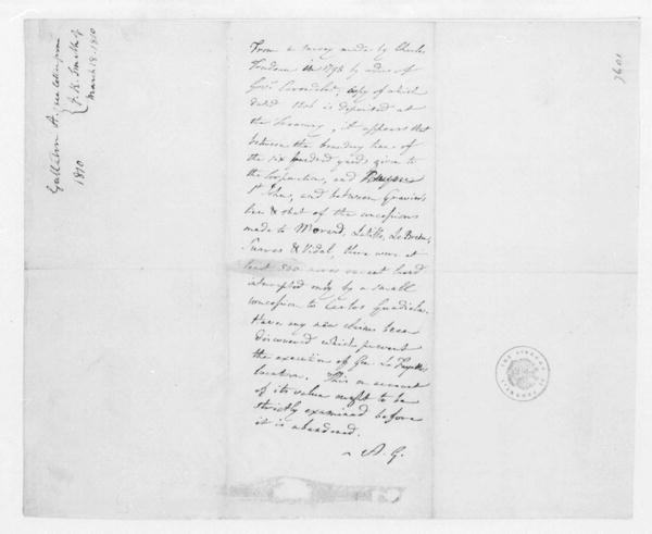 Albert Gallatin, March 18, 1810. Notes for James Madison, Land Claims.
