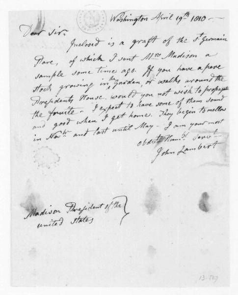 John Lambert to James Madison, April 19, 1810.