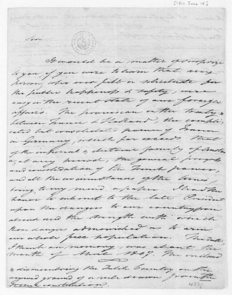 Tench Coxe to James Madison, June 18, 1810.