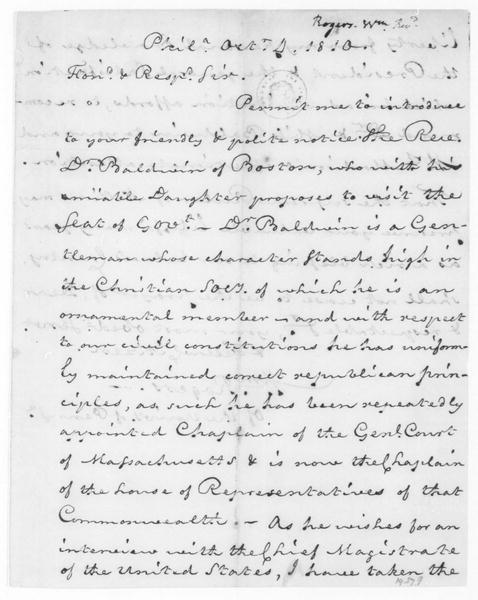 William Rogers to James Madison, October 4, 1810.