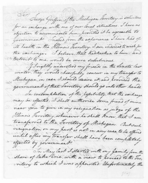 Stanley Griswold to James Madison, December 18, 1810.