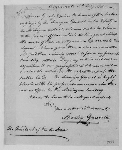 Stanley Griswold to James Madison, February 16, 1811.