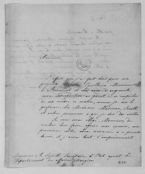 Serurier to Robert Smith, February 17, 1811. In French.