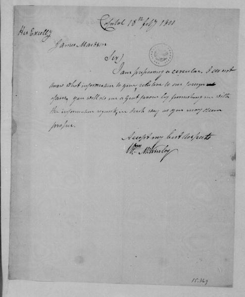 William McKinley to James Madison, February 18, 1811.