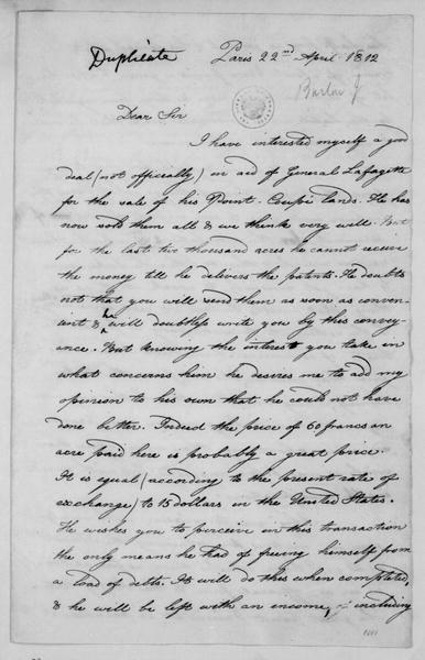 Joel Barlow to James Madison, April 22, 1812. With Copy.