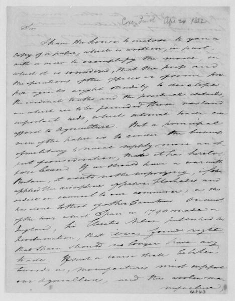 Tench Coxe to James Madison, April 24, 1812.