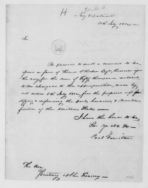 Paul Hamilton to Albert Gallatin, July 13, 1812. On Verso Albert Gallatin Note.