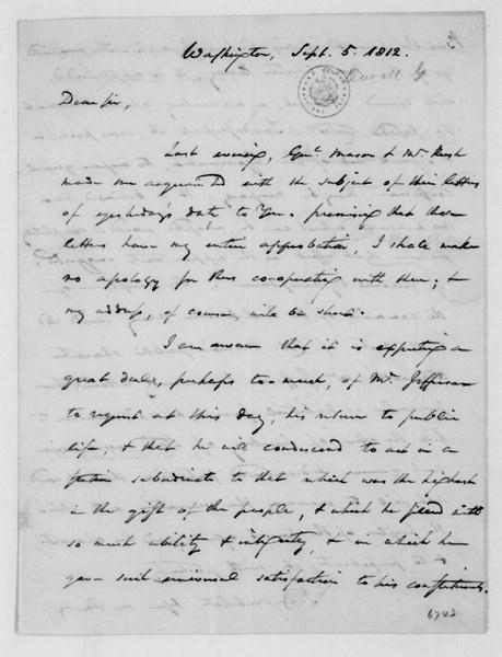 Gabriel Duvall to James Madison, September 5, 1812.