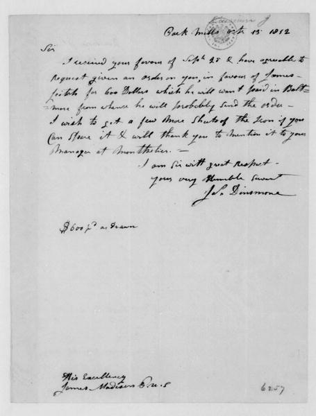 John Dinsmore to James Madison, October 13, 1812.