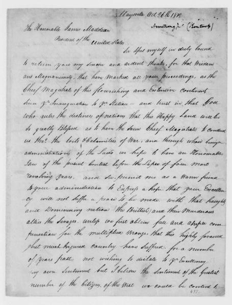 John Armstrong to James Madison, October 26, 1812.