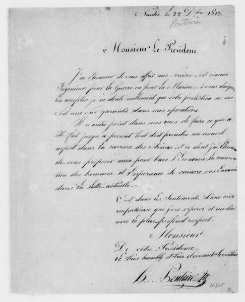 Pontoire to James Madison, December 22, 1812. In French.