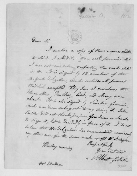 Albert Gallatin to James Madison. Recommendations. 1812.