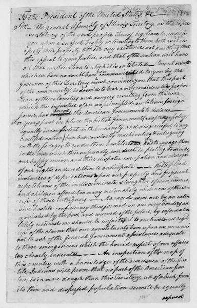 George Fisher to James Madison. Resolutions of the Illinois Territory General Assembly. 1812.
