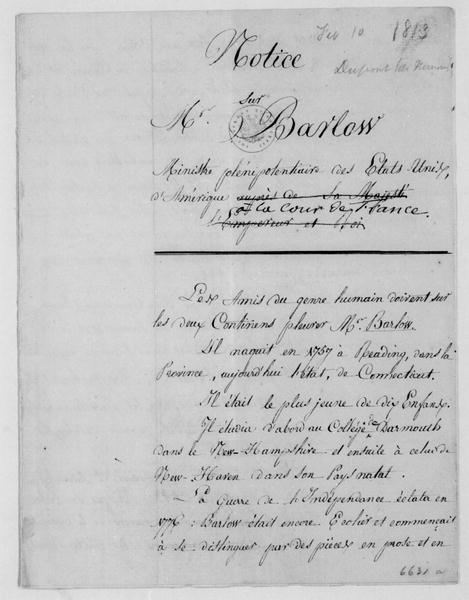 Dupont de Nemours to James Madison, February 10, 1813. Includes Barlow biography. In French.