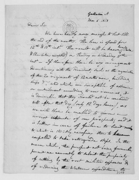 Albert Gallatin to James Madison, March 5, 1813.