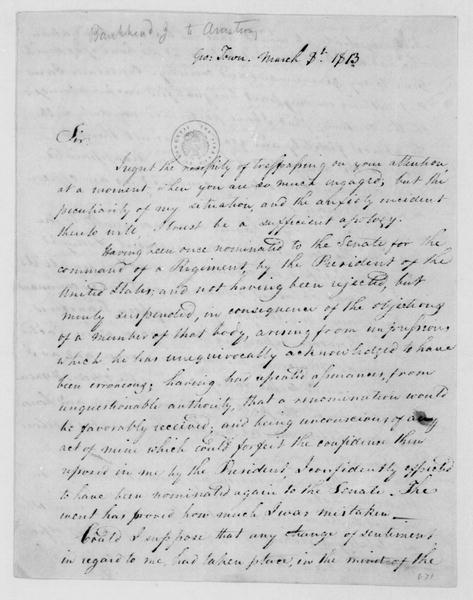 J. Bankhead to John Armstrong, March 8, 1813.