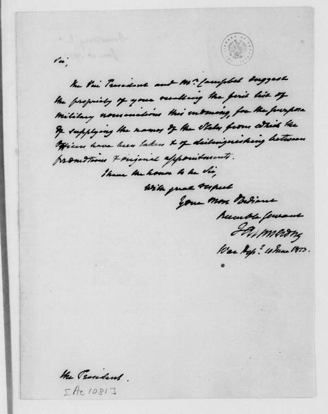 John Armstrong to James Madison, June 10, 1813.