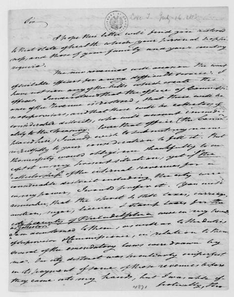 Tench Coxe to James Madison, July 16, 1813.