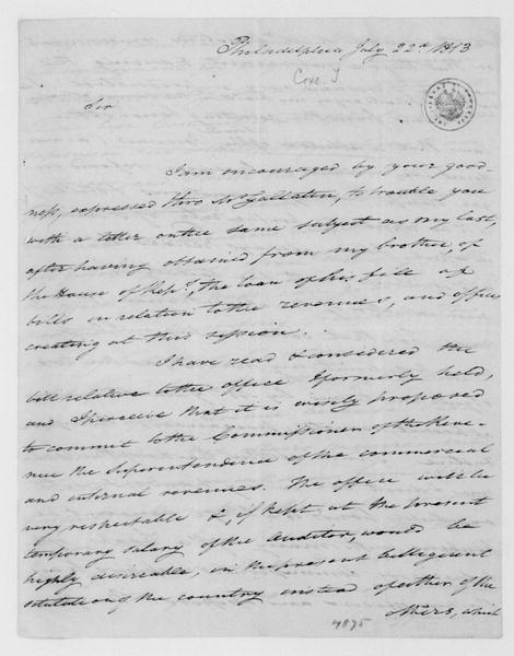 Tench Coxe to James Madison, July 22, 1813.