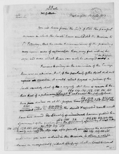 James Madison to Albert Gallatin, August 2, 1813. Partly in Cipher.
