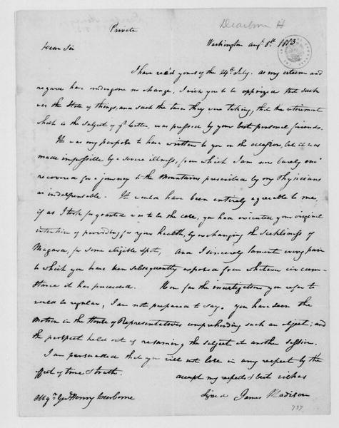James Madison to Henry Dearborn, August 8, 1813.
