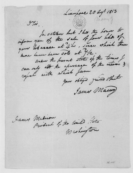 James Maury to James Madison, August 20, 1813.