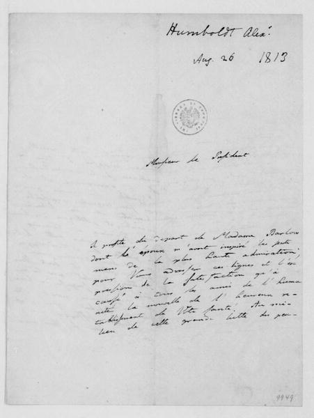 Alexander Humboldt to James Madison, August 26, 1813. In French.