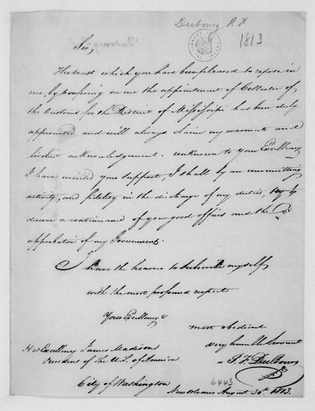 P. F. Dubourg to James Madison, August 30, 1813.