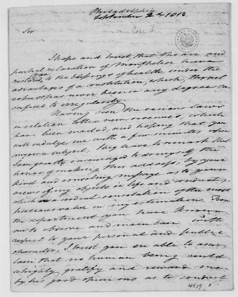 Tench Coxe to James Madison, September 2, 1813.
