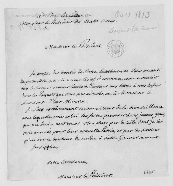 Dupont de Nemours to James Madison, October 23, 1813. In French.