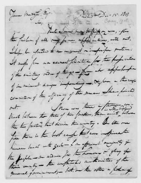 Mathew Carey to James Madison, December 15, 1813. With Clipping.
