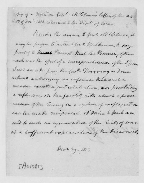 James Madison, December 29, 1813. Note on McClure Cor, Wilkinson Case.