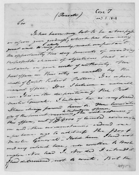 Tench Coxe to James Madison, January 3, 1814.