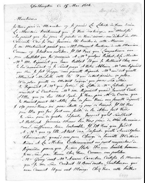 H. S. Doyhan to James Madison, May 19, 1814. In French.