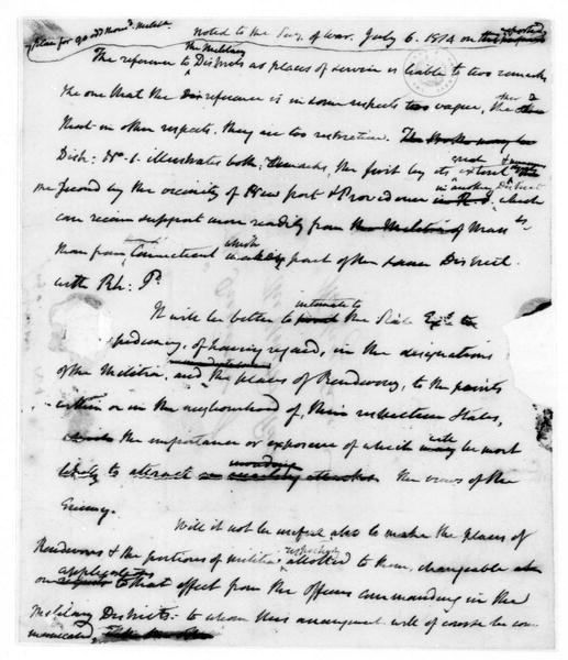 James Madison to John Armstrong, July 6, 1814. Notes.