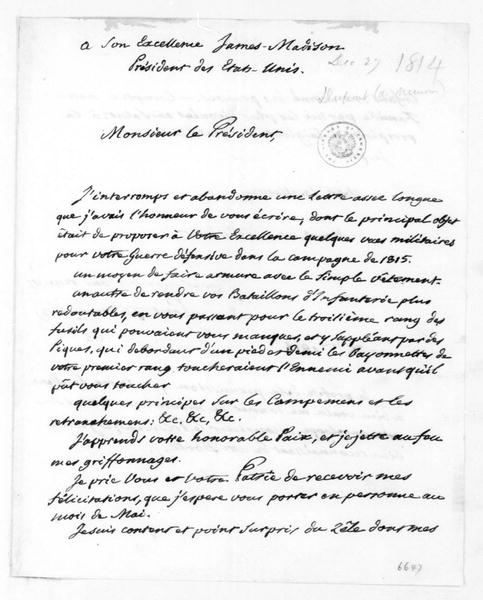 Dupont de Nemours to James Madison, December 27, 1814. In French.