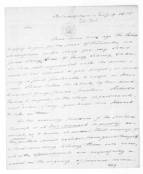Tench Coxe to James Madison, January 4, 1815.