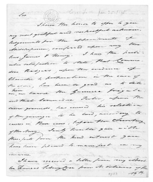 Tench Coxe to James Madison, January 25, 1815.