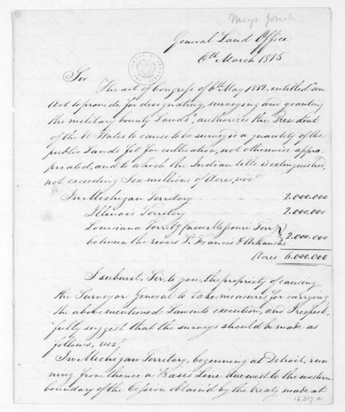 Josiah Meigs to James Madison, March 6, 1815. with plans for bounty lands.