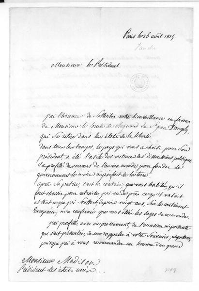 Fauche to James Madison, August 26, 1815. In French.