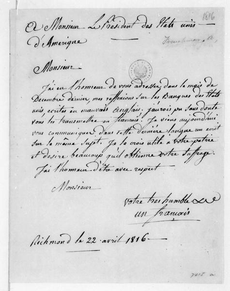 Anonymous to James Madison, April 22, 1816. In French with notes.
