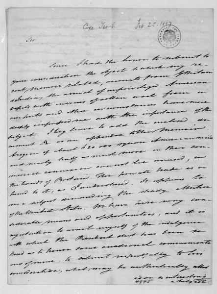 Tench Coxe to James Madison, February 25, 1817.